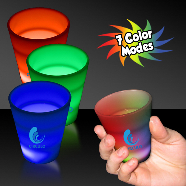 Imprinted Multi Color LED Neon Look 2 oz Shot Glass