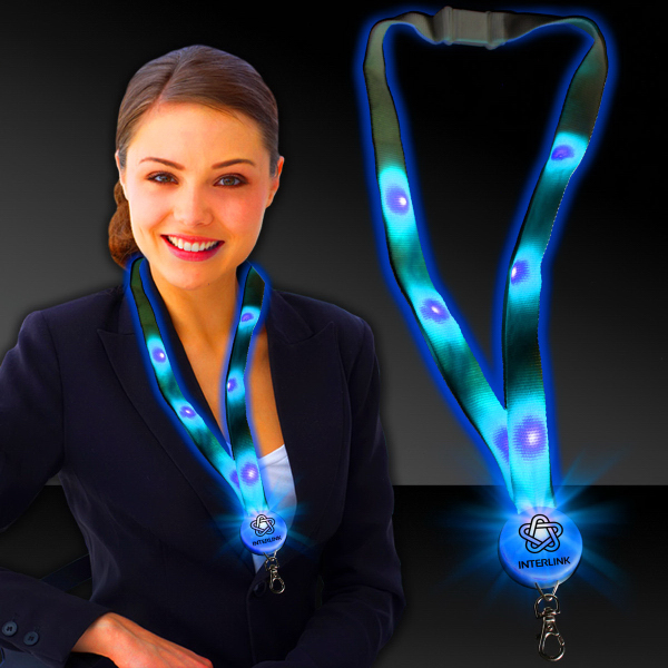 "Customized Blue 32"" Light-Up Flat Lanyard"