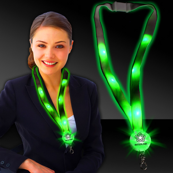 "Custom Green 32"" Light-Up Flat Lanyard"