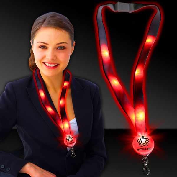 "Printed Red 32"" Light-Up Flat Lanyard"