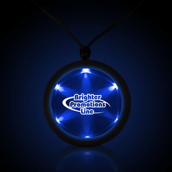 "Custom Blue 2 1/4"" Fusion Badge with Necklace"