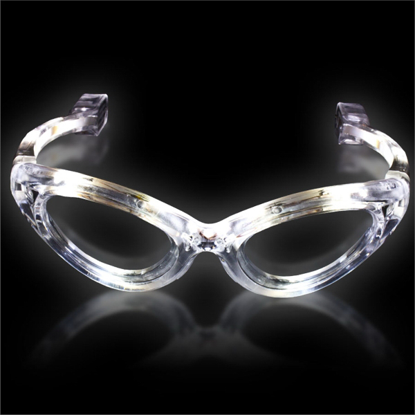 Printed White Light Up Flashing LED Glasses