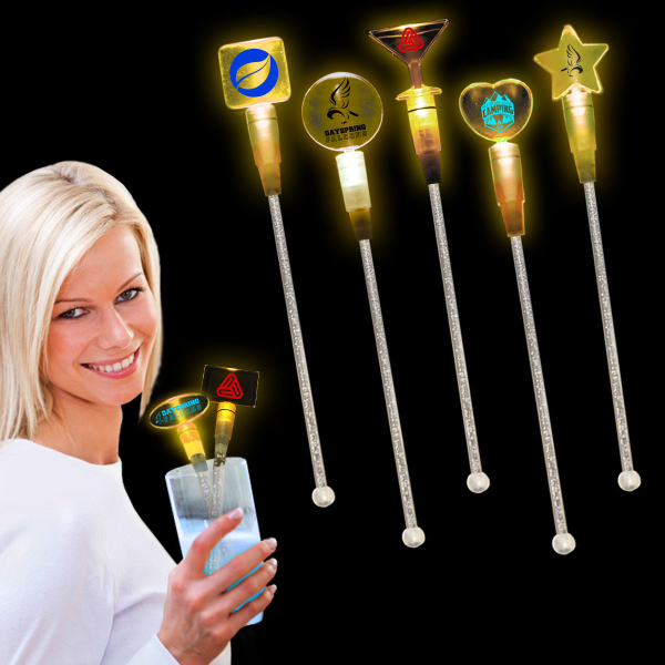 """Personalized Amber 9"""" Light Up Cocktail Stirrer"""