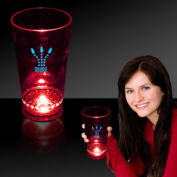 Customized Red 16 oz. Light Up LED Pint Glass