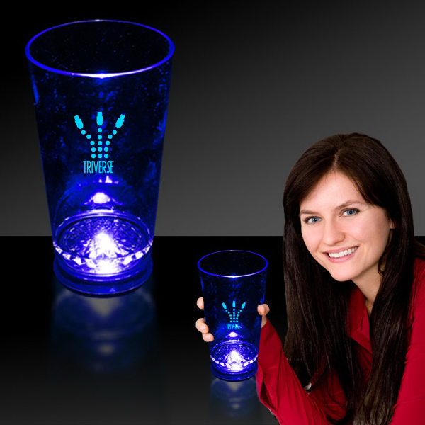 Promotional Blue 16 oz. Light Up LED Pint Glass
