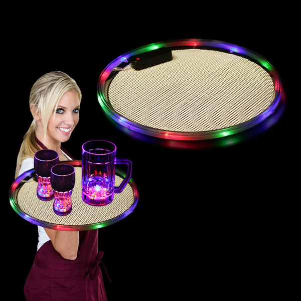 "Custom Multi Color 14"" Light Up LED Serving Tray, Blank"