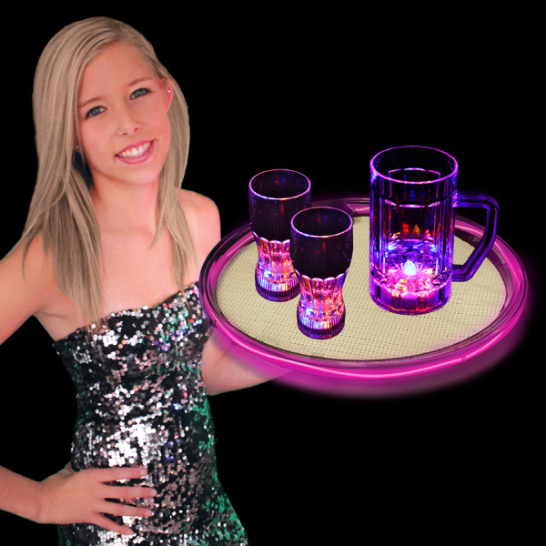 "Customized Pink 14"" Light Up LED Serving Tray, Blank"