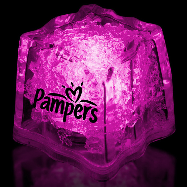 "Custom Pink 1 3/8"" Premium Light-Up Glow Cube"