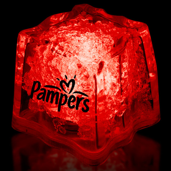 "Imprinted Red 1 3/8"" Premium Light-Up Glow Cube"