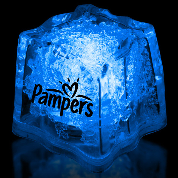 "Custom Blue 1 3/8"" Premium Light-Up Glow Cube"