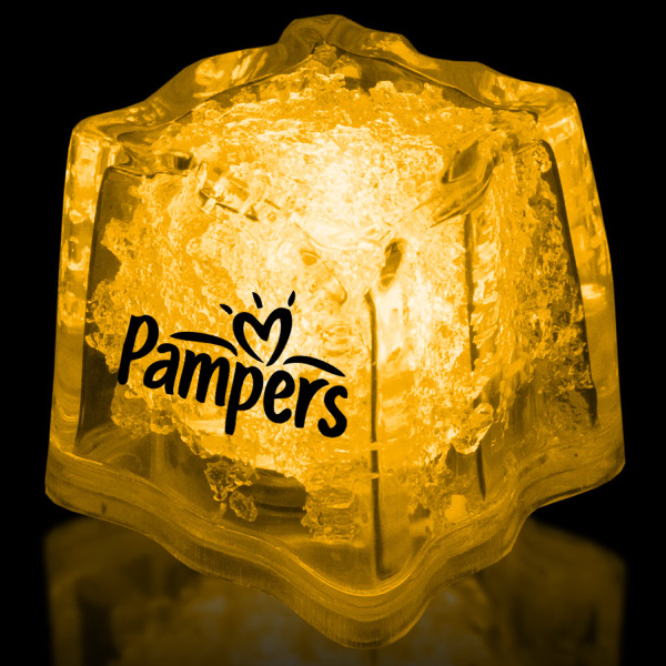 "Printed Yellow 1 3/8"" Premium Light-Up Glow Cube"