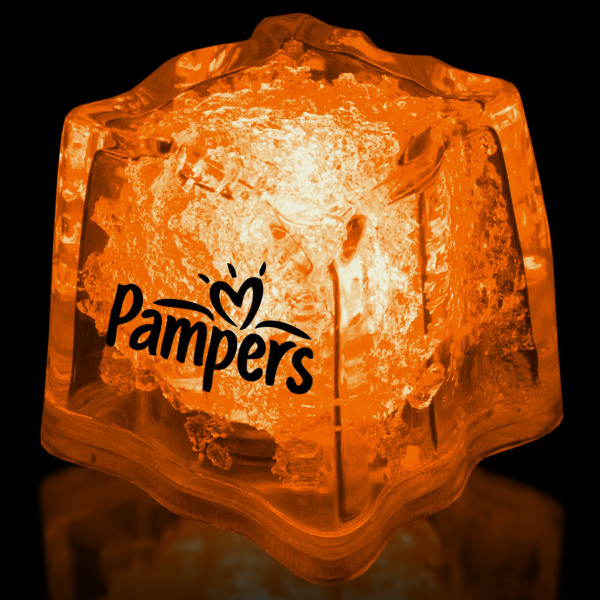 "Customized Orange 1 3/8"" Premium Light-Up Glow Cube"