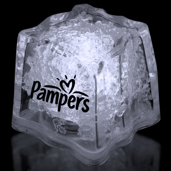 "Personalized White 1 3/8"" Premium Light-Up Glow Cube"