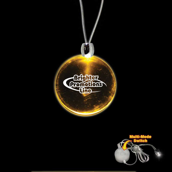 Imprinted Round Amber Light-Up Acrylic Pendant Necklace