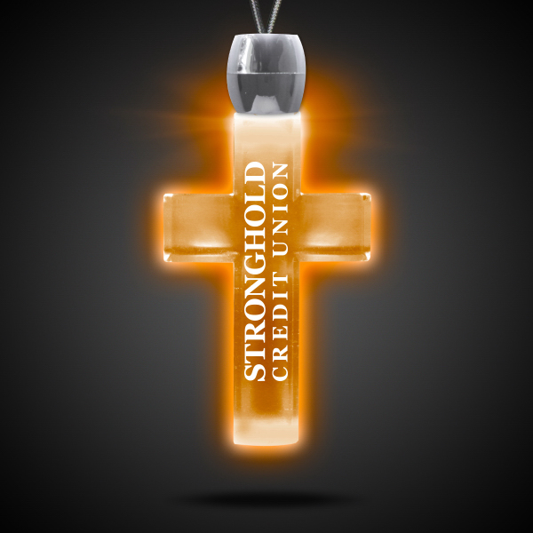 Custom Cross Amber Light-Up Acrylic Pendant Necklace