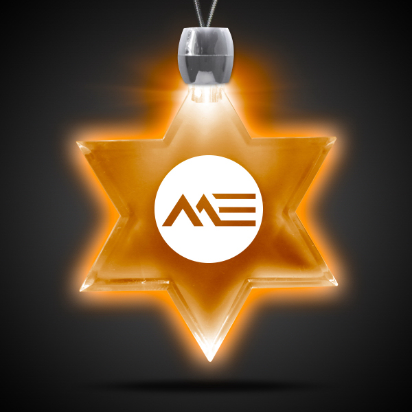 Imprinted Star of David Amber Light-Up Acrylic Pendant Necklace