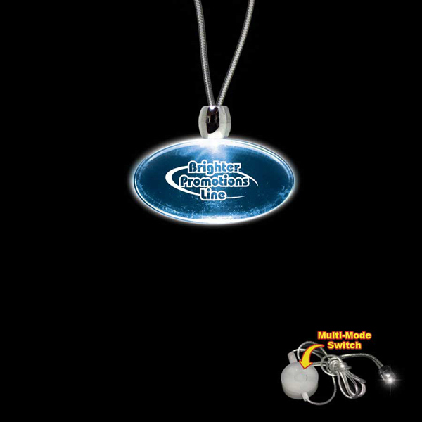 Promotional Oval Blue Light-Up Acrylic Pendant Necklace