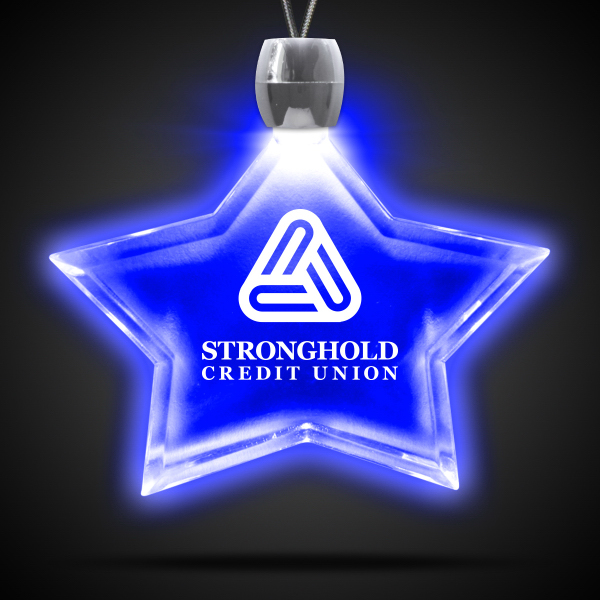 Imprinted Star Blue Light-Up Acrylic Pendant Necklace