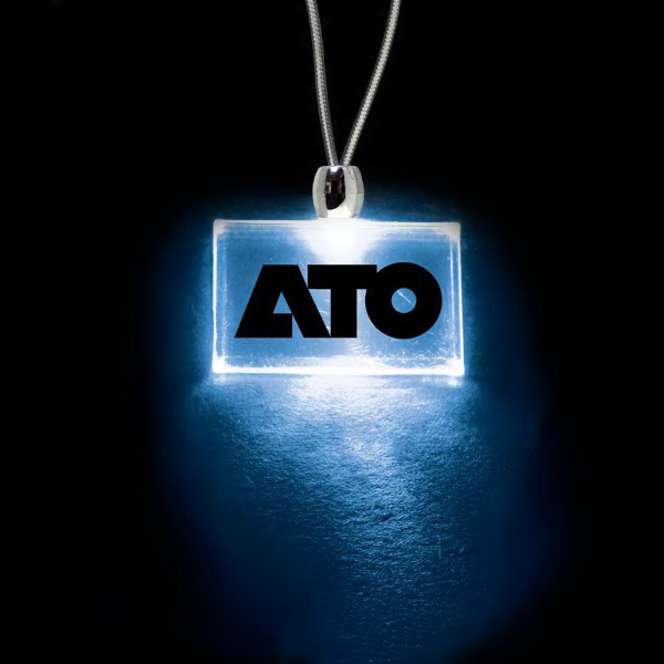 Promotional Rectangle Blue Light-Up Acrylic Pendant Necklace