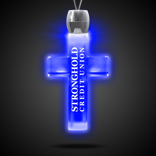 Promotional Cross Blue Light-Up Acrylic Pendant Necklace