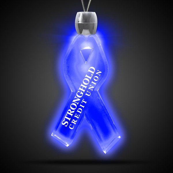 Customized Ribbon Blue Light-Up Acrylic Pendant Necklace