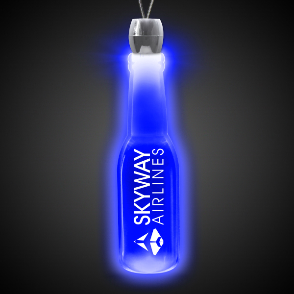 Customized Round Bottle Blue Light-Up Acrylic Pendant Necklace