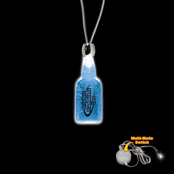 Printed Bottle Blue Light-Up Acrylic Pendant Necklace