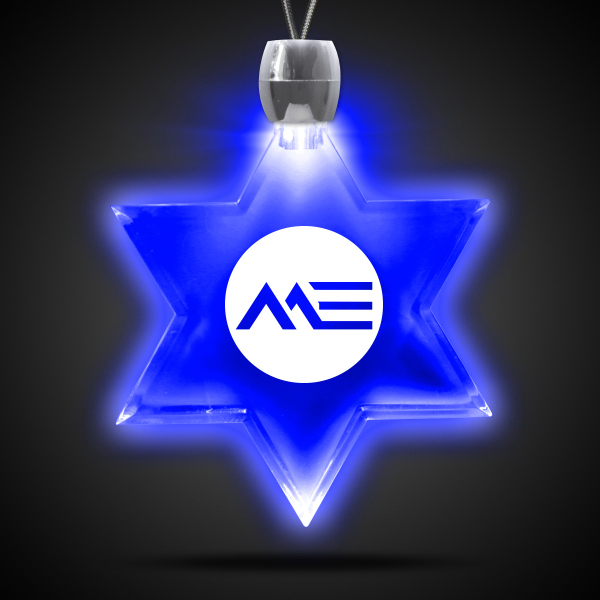 Imprinted Star of David Blue Light-Up Acrylic Pendant Necklace