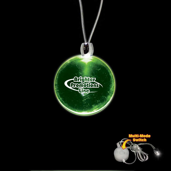 Custom Round Green Light-Up Acrylic Pendant Necklace