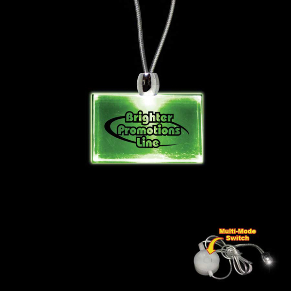 Promotional Rectangle Green Light-Up Acrylic Pendant Necklace