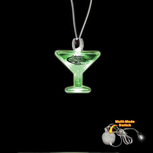 Promotional Martini Glass Green Light-Up Acrylic Pendant Necklace