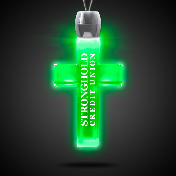 Personalized Cross Green Light-Up Acrylic Pendant Necklace