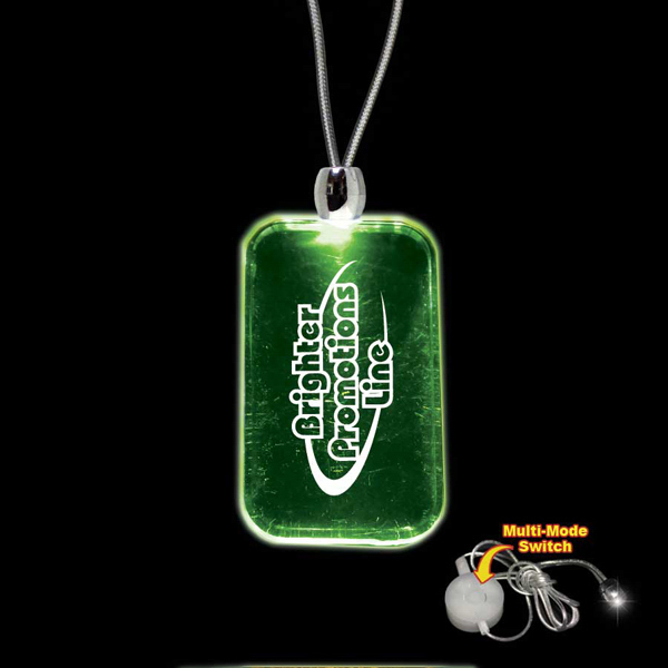 Imprinted Dog Tag Green Light-Up Acrylic Pendant Necklace