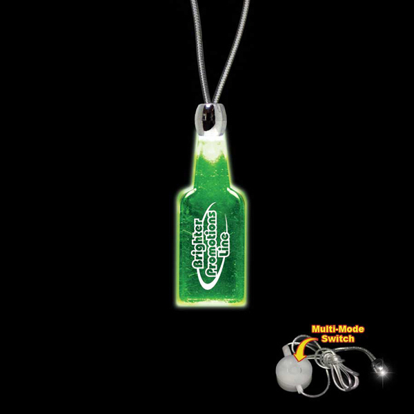 Customized Bottle Green Light-Up Acrylic Pendant Necklace