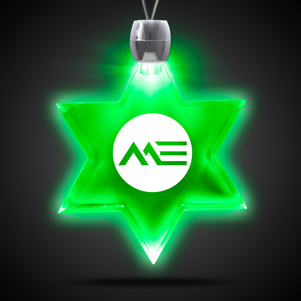 Customized Star of David Green Light-Up Acrylic Pendant Necklace