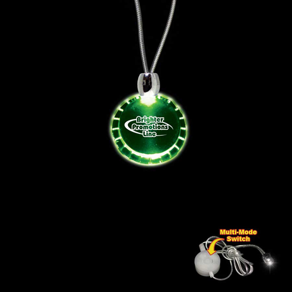 Imprinted Bottle Cap Green Light-Up Acrylic Pendant Necklace