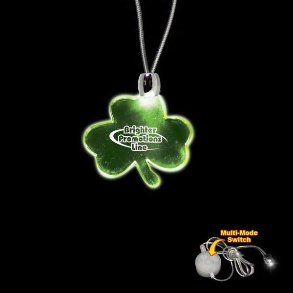 Custom Shamrock Green Light-Up Acrylic Pendant Necklace
