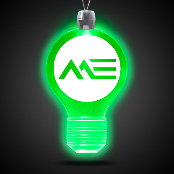 Customized Light Bulb Green Light-Up Acrylic Pendant Necklace