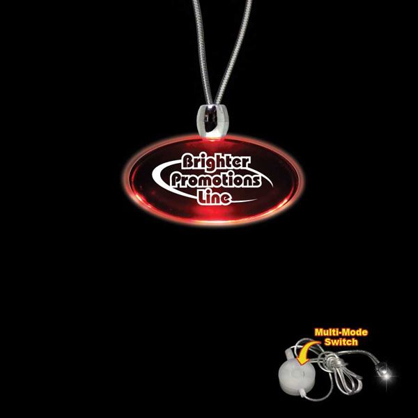Customized Oval Red Light-Up Acrylic Pendant Necklace