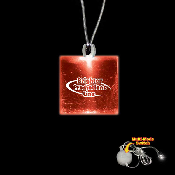 Printed Square Red Light-Up Acrylic Pendant Necklace