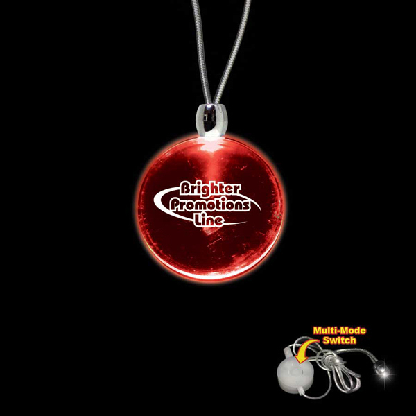 Promotional Round Red Light-Up Acrylic Pendant Necklace