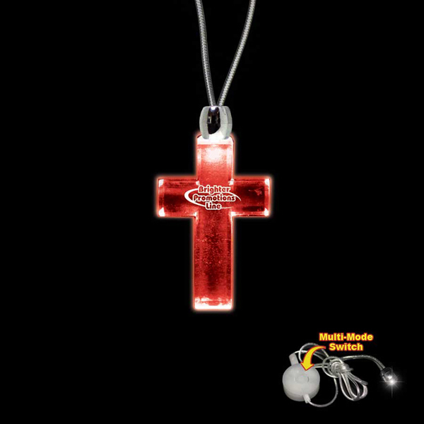 Printed Cross Red Light-Up Acrylic Pendant Necklace