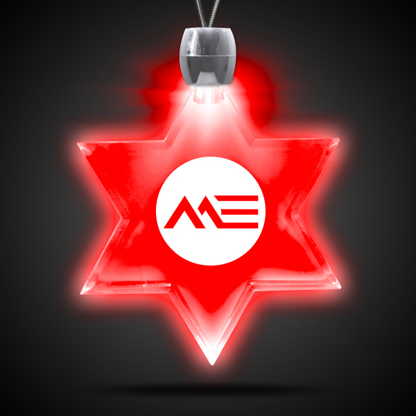 Custom Star of David Red Light-Up Acrylic Pendant Necklace