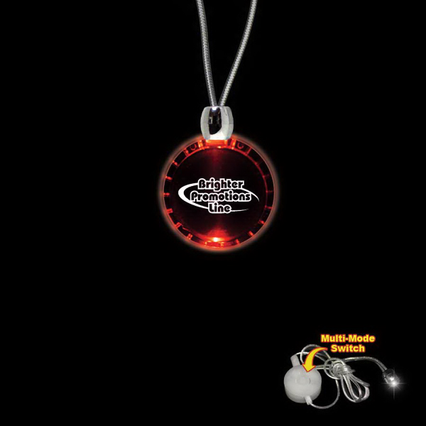 Custom Bottle Cap Red Light-Up Acrylic Pendant Necklace