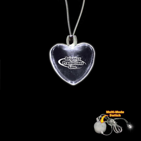 Printed Heart White Light-Up Acrylic Pendant Necklace