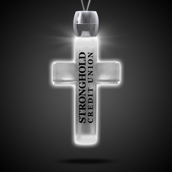 Promotional Cross White Light-Up Acrylic Pendant Necklace
