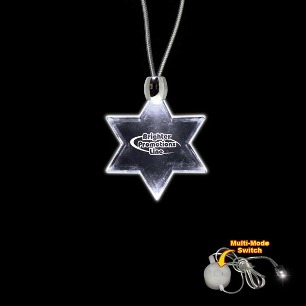 Custom Star of David White Light-Up Acrylic Pendant Necklace