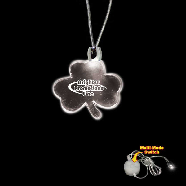 Imprinted Shamrock White Light-Up Acrylic Pendant Necklace