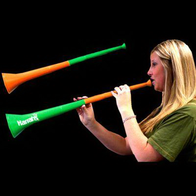 Imprinted Orange & Green Bi-Color Collapsible Stadium Horns