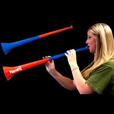 Customized Red & Blue Bi-Color Collapsible Stadium Horns